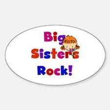 Big Sisters Rock Oval Decal