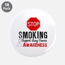 """Stop Smoking Lung Cancer 3.5"""" Button (10 pack)"""