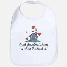 Great Grandma's Home is Where the Heart Is Bib