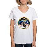 XmasSunrise/Rottweiler Women's V-Neck T-Shirt