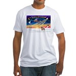 XmasSunrise/Tibet Span #1 Fitted T-Shirt