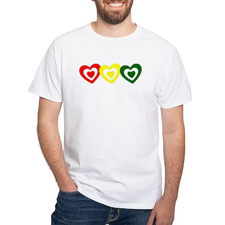 Rasta Hearts White T-Shirt