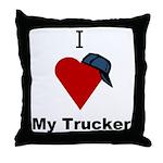 I Love My Trucker Throw Pillow