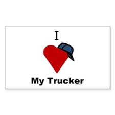 I Love My Trucker Rectangle Decal