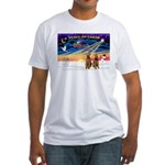 XmasSunrise/2 Airedales Fitted T-Shirt