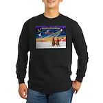 XmasSunrise/2 Airedales Long Sleeve Dark T-Shirt
