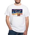 XmasSunrise/2 Airedales White T-Shirt
