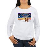 XmasSunrise/2 Airedales Women's Long Sleeve T-Shir