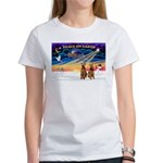 XmasSunrise/2 Airedales Women's T-Shirt