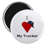 I Love My Trucker Magnet