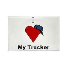 I Love My Trucker Rectangle Magnet