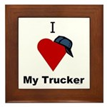 I Love My Trucker Framed Tile