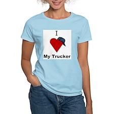 I Love My Trucker Women's Pink T-Shirt