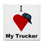 I Love My Trucker Tile Coaster