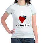 I Love My Trucker Jr. Ringer T-Shirt