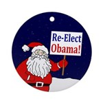 Santa: Re-Elect Obama Ornament (Round)