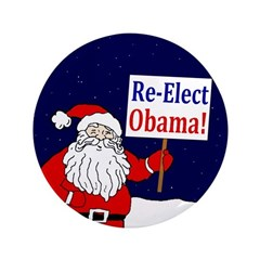 """Santa: Re-Elect Obama 3.5"""" Button"""