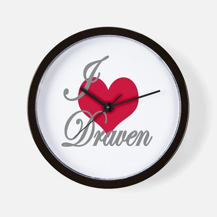 I love (heart) Draven Wall Clock