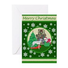 Santa & A Greyhound Greeting Cards (Pk of 20)