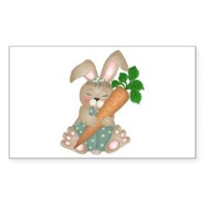 Cute Rabbit With Carrot Rectangle Decal