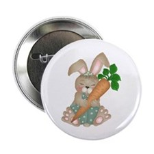"""Cute Rabbit With Carrot 2.25"""" Button (100 pack)"""