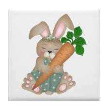 Cute Rabbit With Carrot Tile Coaster
