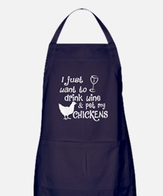 Drink Wine And Pet My Chickens T Shir Apron (dark)