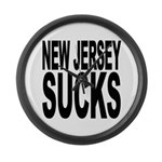 New Jersey Sucks Large Wall Clock