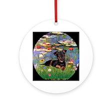 Monet's Lilies and Min Pin Keepsake (Round)