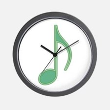 Green Neon Eighth Note Wall Clock