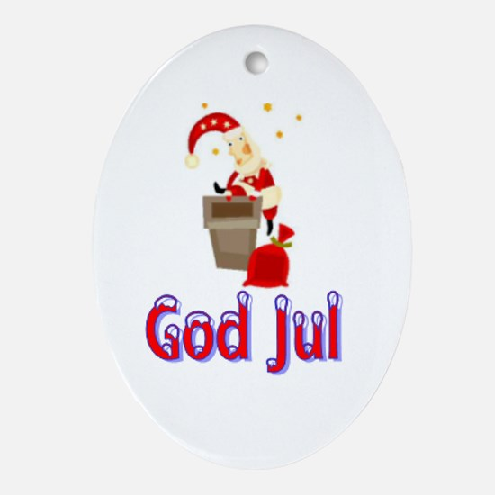 God Jul Santa Chimney Oval Ornament