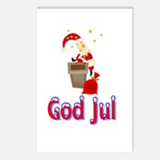 God Jul Santa Chimney Postcards (Package of 8)