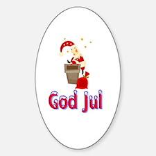 God Jul Santa Chimney Oval Decal