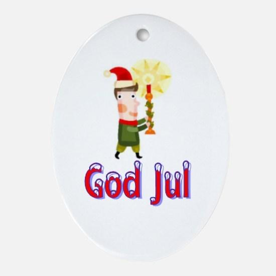 God Jul Wreath Oval Ornament