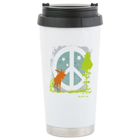Moose and Peace Sign Stainless Steel Travel Mug