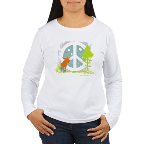 Moose and Peace Sign Women's Long Sleeve T-Shirt