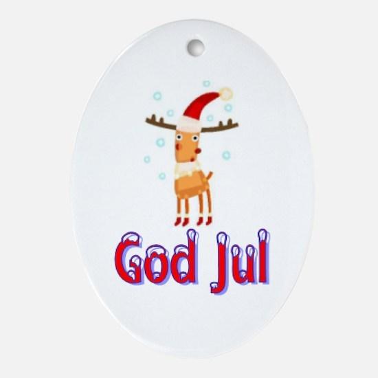 God Jul Reindeer Oval Ornament