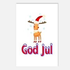 God Jul Reindeer Postcards (Package of 8)