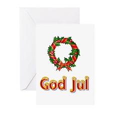 God Jul Wreath Greeting Cards (Pk of 10)