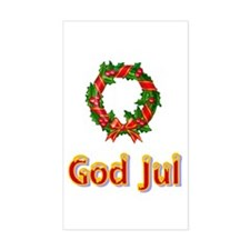 God Jul Wreath Rectangle Decal