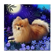 POMERANIAN DOG MOON GARDEN Tile Coaster