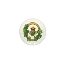 Claddagh w/Shamrocks Mini Buttons (10 pack)
