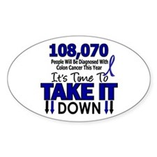 Take Down Colon Cancer 4 Oval Decal