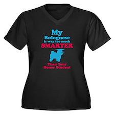 Bolognese Women's Plus Size V-Neck Dark T-Shirt