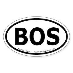 Boston, Mass. Oval Sticker