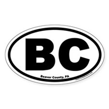 """Beaver County, PA """"BC"""" Euro Style Oval Decal"""