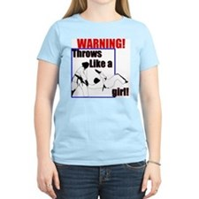 Throws Like a Girl Women's Pink T-Shirt