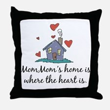 Mom Mom's Home is Where the Heart Is Throw Pillow