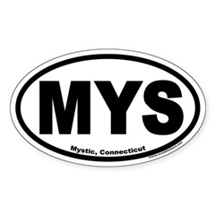 Mystic, Connecticut Euro Oval Decal