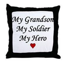 My Grandson Soldier Hero Throw Pillow
